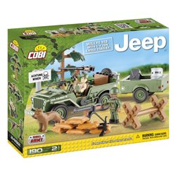 COBI Small Army stavebnice Jeep Willys MB přívěsem
